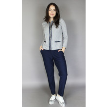 Zapara Navy & Grey Check Zip Jacket