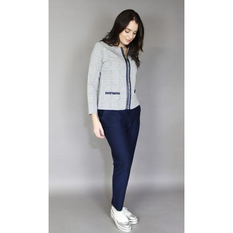 Zapara Navy & Grey Check Zip Jacket