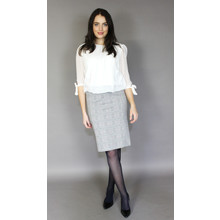 Zapara Navy & Grey Check Pencil Skirt