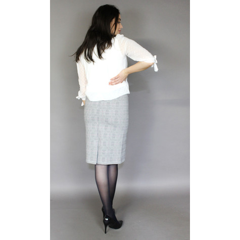 Zapara Navy & Grey Check Pencil Skirt