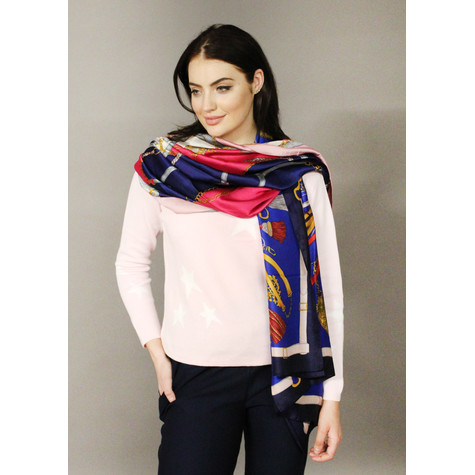 Pamela Scott Pink & Royal Blue Chain Detail Scarf