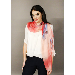 Pamela Scott Rose Butterfly Pattern Print Scarf