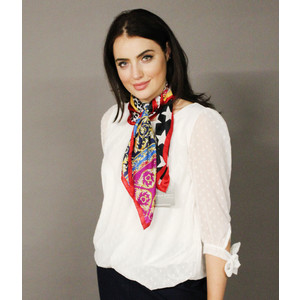 Pamela Scott Yellow & Red Star Print Scarf
