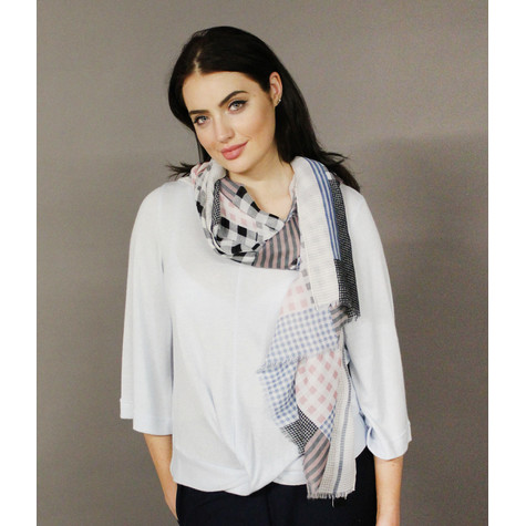 Best Angel Grey Off White Check Scarf