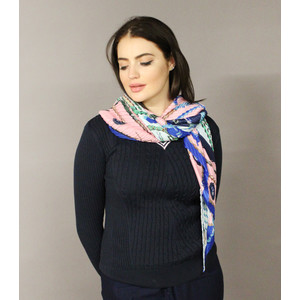 Pamela Scott Royal Blue Crepe Effect Scarf