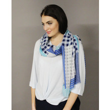 Pamela Scott Blue & Grey Check Pattern Scarf