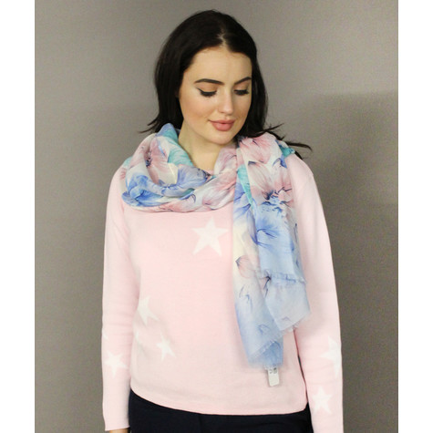Best Angel Off White & Blue Floral Pattern Scarf
