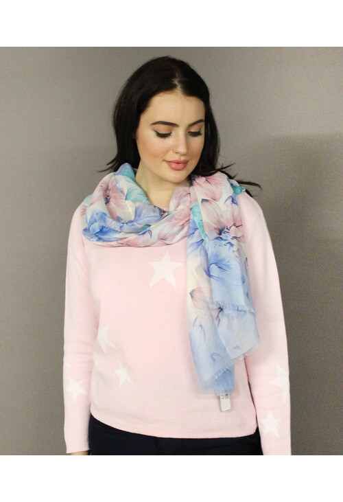Pamela Scott Off White & Blue Floral Pattern Scarf