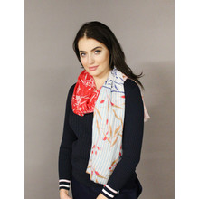 Pamela Scott Red, Off White & Blue Pattern Scarf