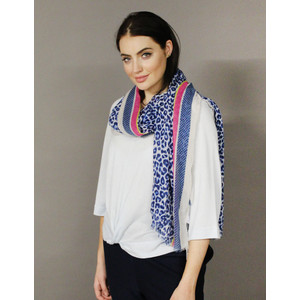 Pamela Scott Blue, Gold & Pink Pattern Scarf