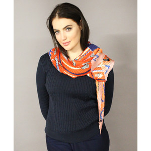 Pamela Scott Orange & Navy Crepe Print Scarf