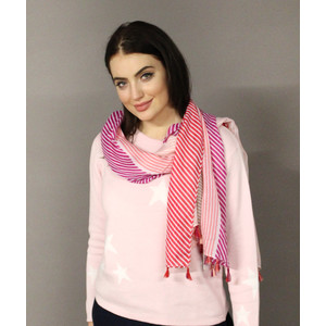 Pamela Scott Red, Pink & Orange Stripe Scarf