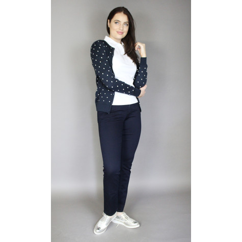 Twist Navy & Off White Spot Button Knit