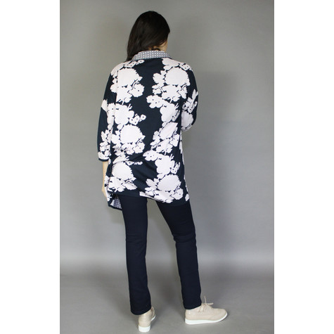 Twist Navy & Rose Flower Pattern Open Knit