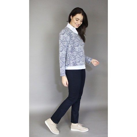 Twist Navy Circle Pattern Collar 2 in 1 Top