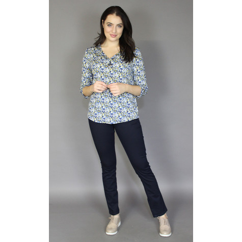 SophieB Lemon & Blue Leaf Pattern Blouse