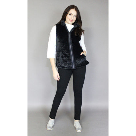 Teezher Black Faux Fur Reversible Sleeveless Jacket