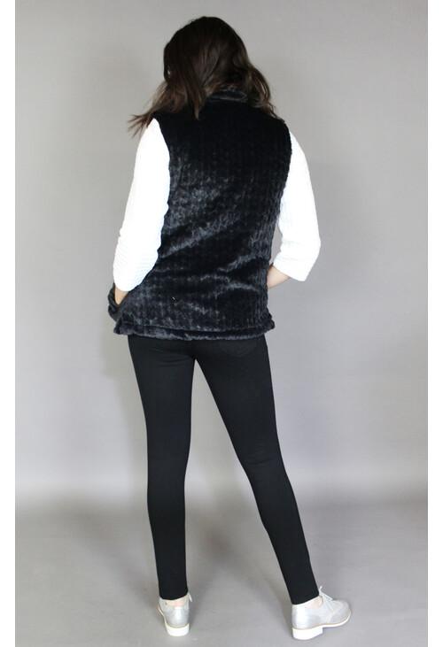 Pamela Scott Black Faux Fur Reversible Sleeveless Jacket