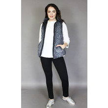 Teezher Black & Grey Leopard Faux Fur Sleeveless Jacket
