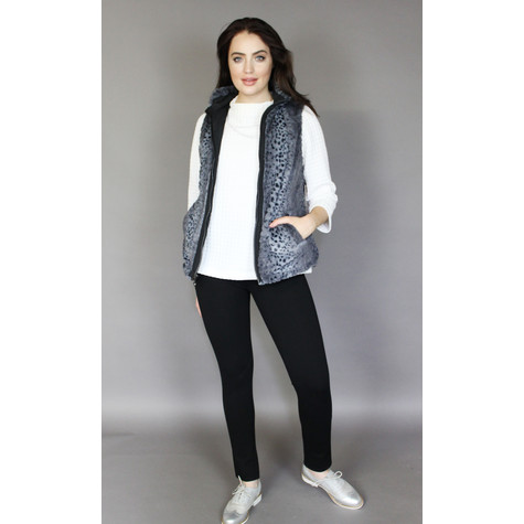 Teezher Black & Grey Leopard Faux Fur Sleeveless Jacket