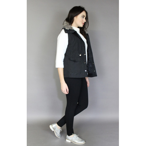 Teezher Black Faux Fur Trim Hood Sleeveless Jacket