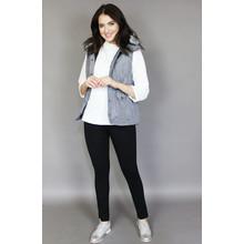 Teezher Grey Faux Fur Trim Hood Sleeveless Jacket