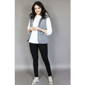 Teezher Grey Faux Fur Trim Hood Sleeveless Jacket