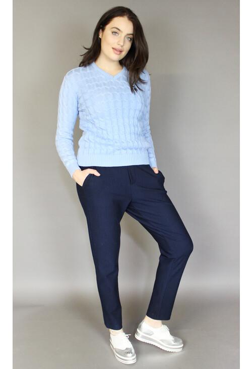 Twist Sky Blue V-Neck Knit