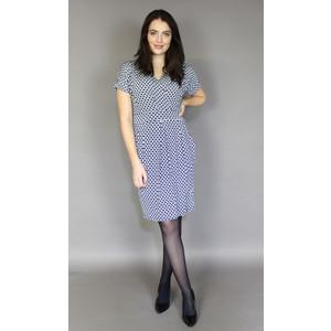 Zapara Navy & White Wrap Print Dress