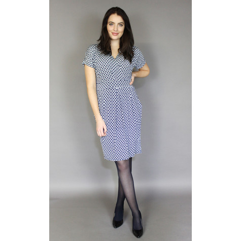 Zapara Navy & White Wrap Print Dress