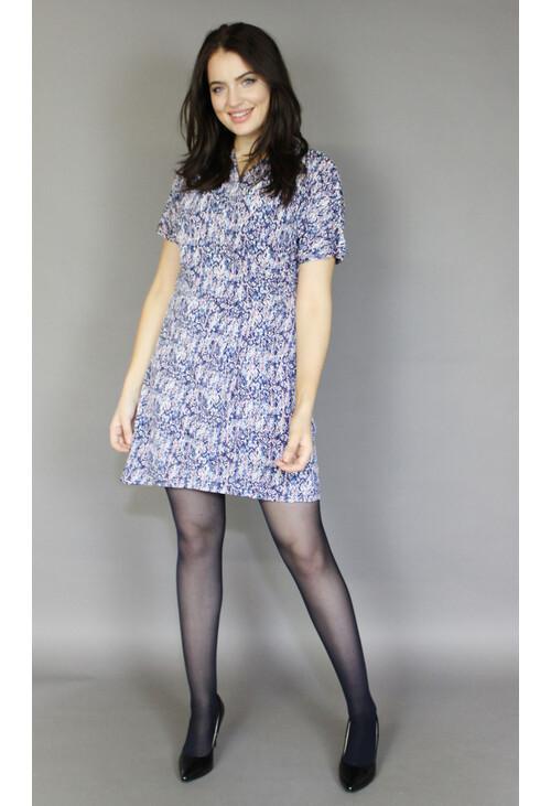Zapara Pink & Blue v-Neck Wrapped Dress