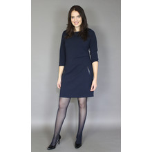Zapara Navy Crepe Effect Round Neck Dress