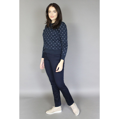 Twist Navy Off White Spot Print Knit