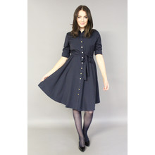 Sharagano Navy Gold Button Shirt Dress