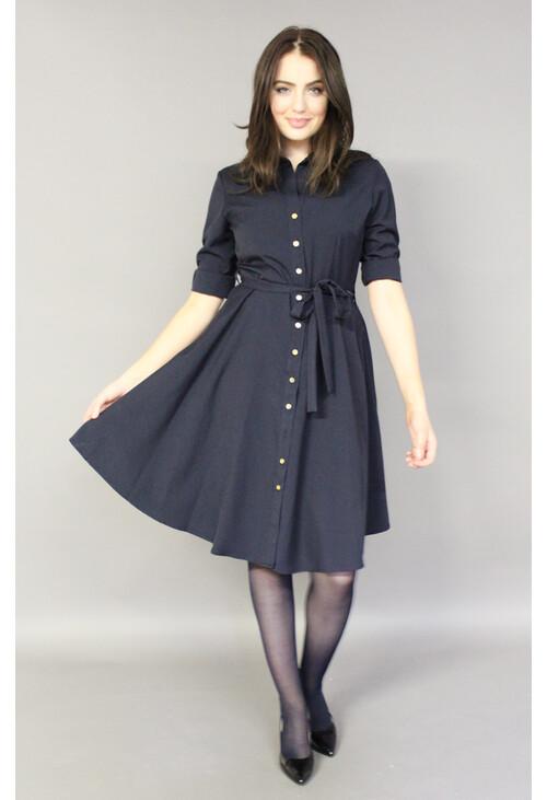 usa cheap sale good texture exclusive shoes Sharagano Navy Gold Button Shirt Dress | Pamela Scott