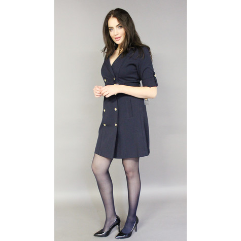 Sharagano Navy Double Gold Button Shirt Dress