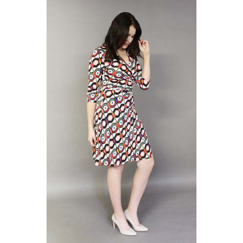Zapara Off White Multi-Print Wrap Dress
