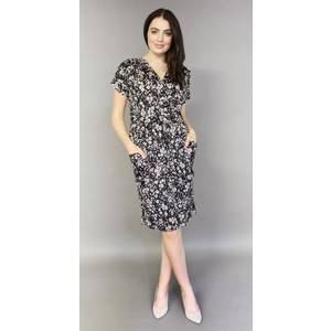 Zapara Black Floral Pattern Wrap Dress
