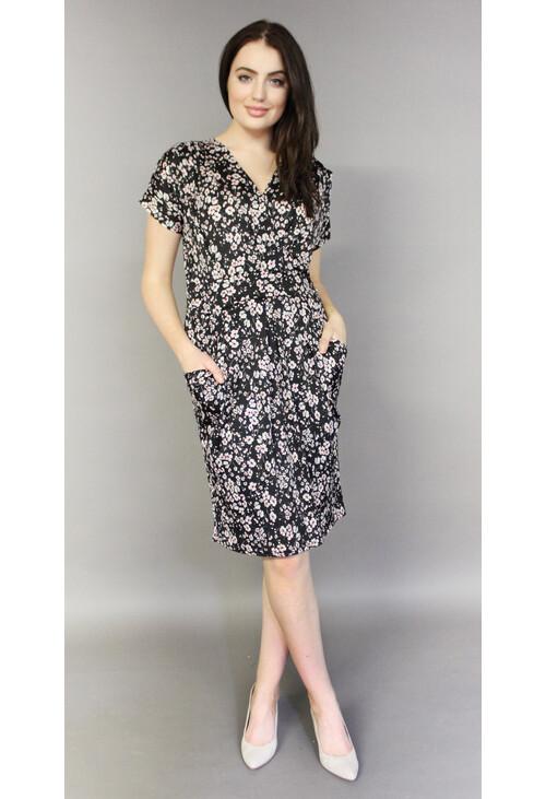 Zapara Black Floral Pattern Wrap Dress