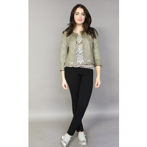 SophieB Khaki Suede Effect Crop Jacket