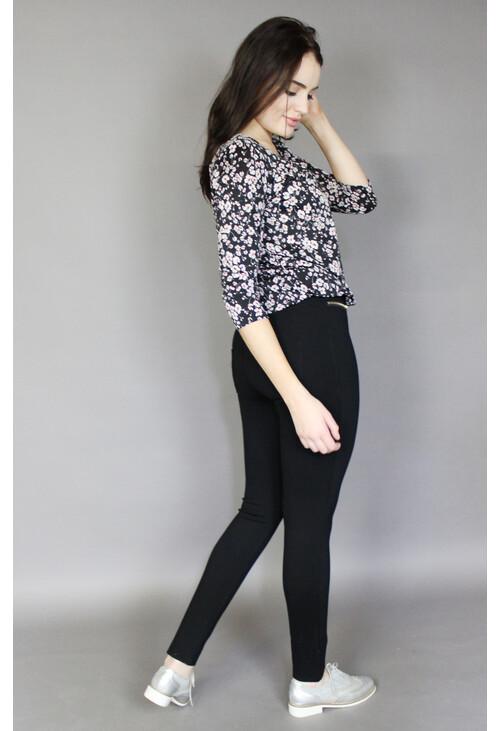 Zapara Black Floral Sweetheart Blouse