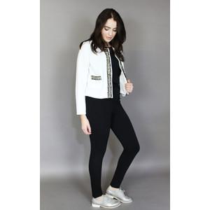 Zapara Off White Black & Gold Trim Jacket