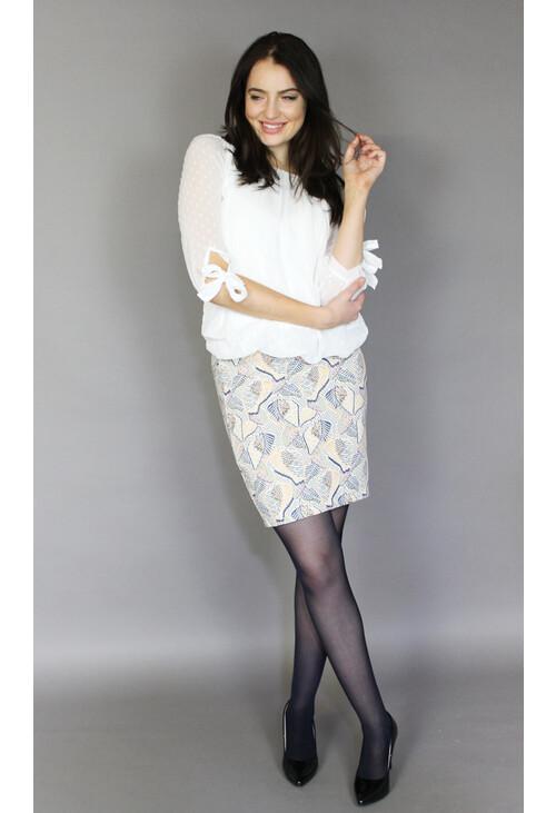Zapara Off White & Yellow Print Skirt