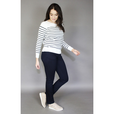 Twist Off White Navy Stripe Gaultier Style Knit