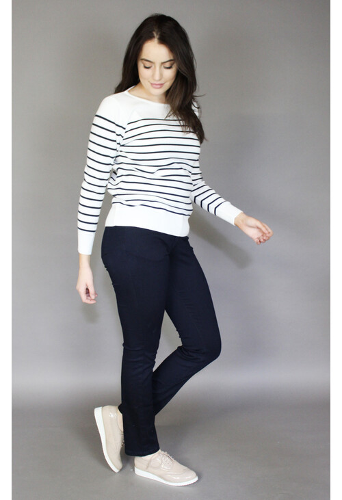 Twist Off White Navy Stripe Gaultier Style Knit