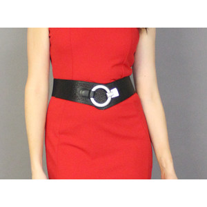 Pamela Scott Black Elastic Silver Belt Buckle
