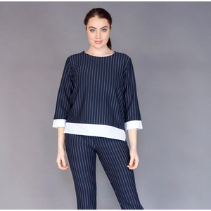 Zapara Navy Pinstripe Round Neck Top