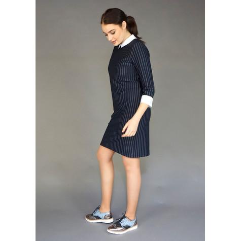Zapara Navy Pinstripe White Collar Dress