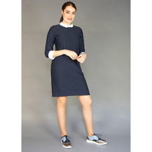 Zapara Navy Pinstripe White Collar Dress