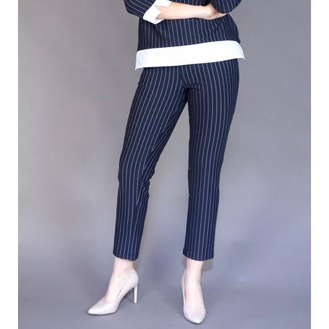 Zapara Navy Pinstripe Easy Pants